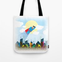 superman Tote Bags featuring SUPERMAN by voskovski