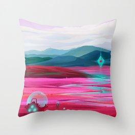 Pink fields Throw Pillow