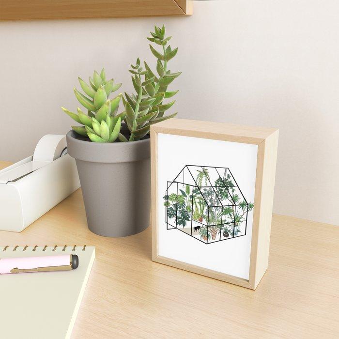 greenhouse with plants Framed Mini Art Print