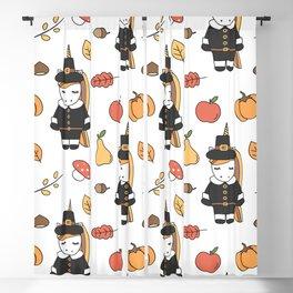 cartoon thanksgiving pattern with pilgrim unicorns, pumpkins, apples, pears, leaves and acorns Blackout Curtain
