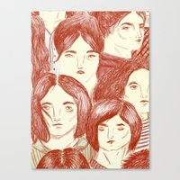 girls Canvas Prints featuring Girls by Katty Huertas