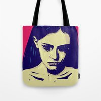 anxiety Tote Bags featuring Anxiety by Giuseppe Cristiano