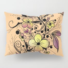 Flower Tattoo in Yellow and Purple Pillow Sham