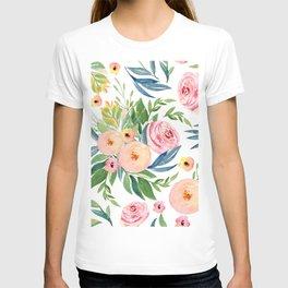 Elegant Roses Coral Pink + Green T-shirt