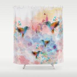 Digital Fantasy Hummingbird Shower Curtain