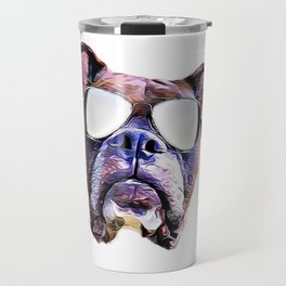 Boxer dog with Glasses Travel Mug