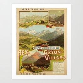 old placard chemin de fer electrique bex gryon Art Print