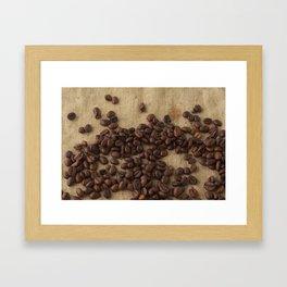 scattered coffee bean Framed Art Print