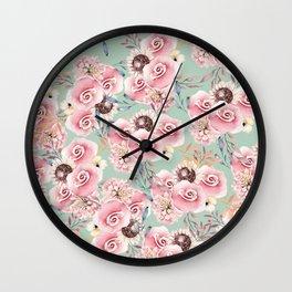 Vintage green pastel pink watercolor botanical roses Wall Clock