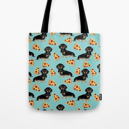 dachshund pizza black and tan doxie dog breed cute pattern gifts Tote Bag