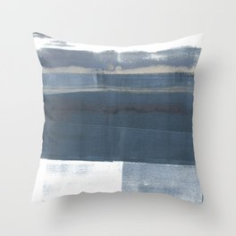 Blue and White Minimalist Abstract Landscape Throw Pillow