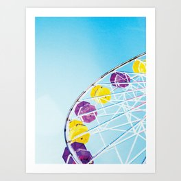 Vintage Santa Monica Ferris Wheel Art Print