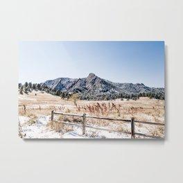 Flatirons Boulder // Colorado Scenery Mountain Landscape Snowfall Fence Line Metal Print