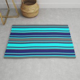 Dim Gray, Midnight Blue, and Aqua Colored Striped Pattern Rug