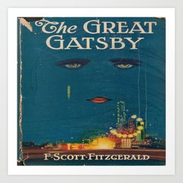 The Great Gatsby vintage book cover - Fitzgerald - muted tones Art Print