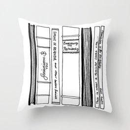 """Feminist Bookshelf """"Smashing the Patriarchy"""" Throw Pillow"""