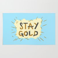 stay gold Area & Throw Rugs featuring Stay Gold Print by Lucy Ricketts Illustration