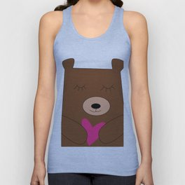 Bear in love pink Unisex Tank Top