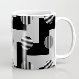 Geometric Zig Zags & Circles Pattern - Black White Gray Coffee Mug