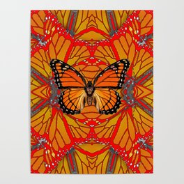 ORANGE MONARCH BUTTERFLY & RED WINGS ABSTRACT FROM SOCIETY6 BY SHARLESART. Poster