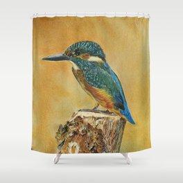 Blue Kingfisher art. Shower Curtain