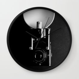 Black and white vintage camera photograph Wall Clock