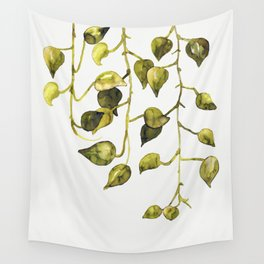 Golden Pothos - Botanical ink painting Wall Tapestry