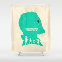 guardians of the galaxy Shower Curtains featuring Guardians of the Galaxy by FelixT