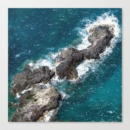 Tropical Turquoise Ocean Surf Surrounding Rocky Remote Island Canvas Print