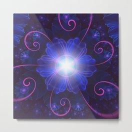 Beautiful Ultra Violet Fractal Nightshade Flower Metal Print