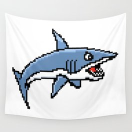 8-Bit Pixel Art Great White Shark Wall Tapestry