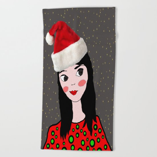Christmas with you | Kids Painting | Only Love by Elisavet Beach Towel