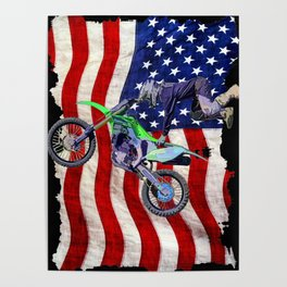 High Flying Freestyle Motocross Rider & US Flag Poster
