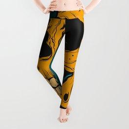yellow skull Leggings