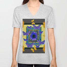 PURPLE & YELLOW BUTTERFLIES SUNFLOWER DESIGN Unisex V-Neck