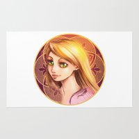 rapunzel Area & Throw Rugs featuring Rapunzel by Vincent Vernacatola