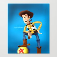 woody Canvas Prints featuring Woody by Ricky_Disneyart