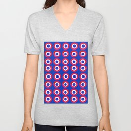 Donut Evil Eye Amulet Talisman - red on blue doughnut Unisex V-Neck
