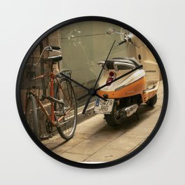Bikes and a Scooter on Old Road Wall Clock