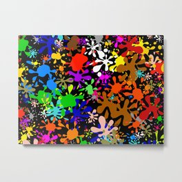 Colourful Fun Paint Blots and Stains Metal Print