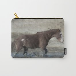 Mustang Getting Out of a Muddy Waterhole the Slow Way painterly Carry-All Pouch