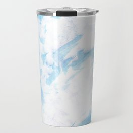 Abstract blush blue white watercolor brushstrokes pattern Travel Mug