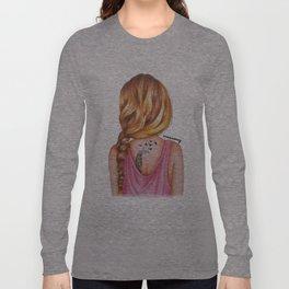 Blonde Rope Braid Girl Drawing Long Sleeve T-shirt