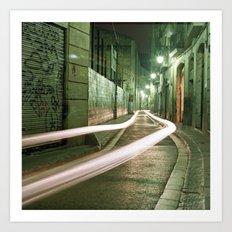 Barcelona, Spain night streets. Art Print