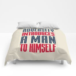 Lab No. 4 Adversity introduces a man to himself albert einstein motivational quote poster Comforters