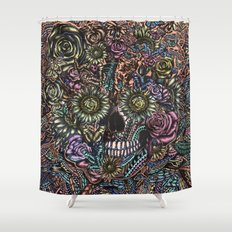 Sensory Overload Skull in Pastels Shower Curtain