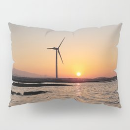 Sunset and windmill on the jeju  island sea in Korea Pillow Sham