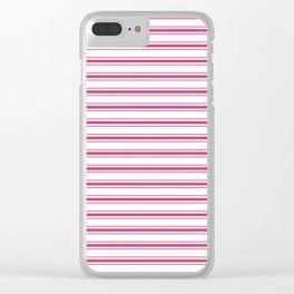 Bright Pink Peacock Mattress Ticking Wide Striped Pattern - Fall Fashion 2018 Clear iPhone Case