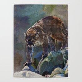 The Mountain King - Cougar Wildlife Art Poster