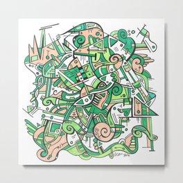 Green Geometric Zendoodle Hand Drawn Doodle Metal Print